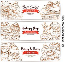 Bakery, pastry shop sketch banners set - Pastry banners set...