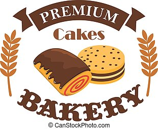 Bakery, pastry shop vector busniess label emblem