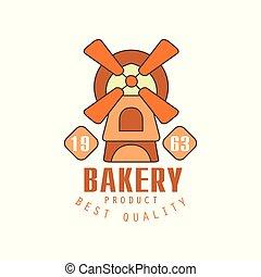 Bakery product, best quality logo template, estd 1963, bread shop badge retro food label design vector Illustration