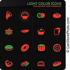 Bakery products icons set