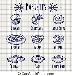 Bakery products set on notebook page - Ballpoint pen drawing...