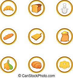 Bakery profession icon set, cartoon style