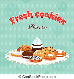 Bakery retro poster with fresh cookies lettering and...