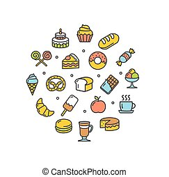 Bakery Round Design Template Thin Line Icon. Vector