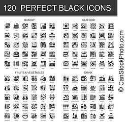 Bakery, seafood, fruits and vegetables, drinks black mini concept icons symbols. Modern vector icon pictogram set.