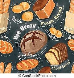 Bakery seamless pattern. Long loaf, rye bread, baguette, rolls, white bread, sliced bread, brioche. Vector illustration