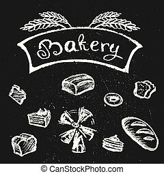 Bakery set, chalk style hand drawn design