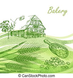 Bakery set. Hand drawn farm house, wheat, grain with watercolor