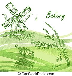 Bakery set. Hand drawn windmill, oats, grain with watercolor bac