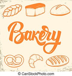 Bakery. Set of bread icons. Design elements for logo, label, emb