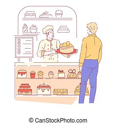 Bakery shop and baker with customer cakes and cupcakes showcase