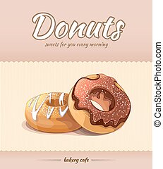 Bakery shop and cafe poster with donuts. Vector template