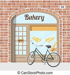 Bakery shop. - Bakery shop building facade of red brick ....
