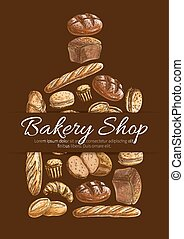 Bakery shop bread vector poster