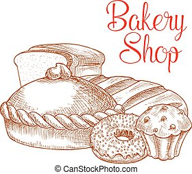 Bakery shop bread vector sketch poster