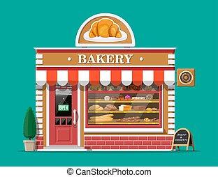 Bakery shop building facade with signboard.