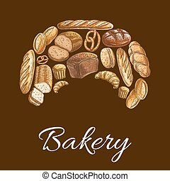 Bakery shop croissant symbol of bread icons