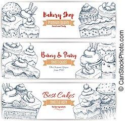 Bakery shop desserts sketch banners set