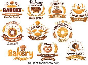 Bakery shop emblem or sign board designs - Bakery shop...