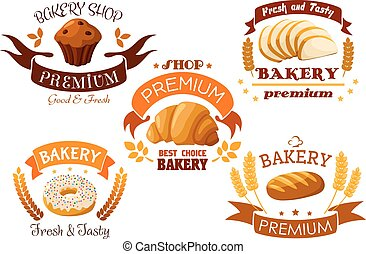 Bakery shop emblem with bread and sweet cakes