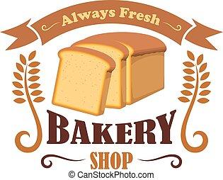 Bakery shop emblem with wheat bread brick
