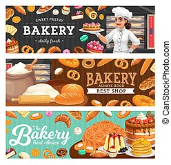 Bakery shop food and baker in toque carton vector. Woman in ...
