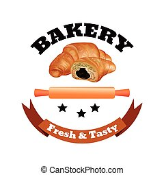 Bakery Shop Label Design Set. Fresh and Tasty Desserts. Croissant , Ribbons and Stars. Vector Illustration.