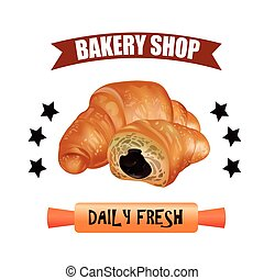 Bakery Shop Label Design Set. Fresh and Tasty Desserts. Daily Fresh. Croissant , Ribbons and Stars. Vector Illustration.