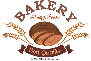 Bakery shop label emblem with rye sliced bread