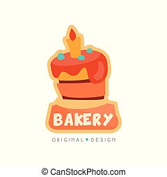Bakery shop logo design template, badge for bread store, coffee shop, food market, vector Illustration on a white background