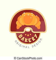 Bakery shop logo design template, badge for bread store, food market, cafe, restaurant vector Illustration on a white background