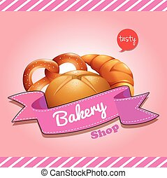 Bakery shop logo design with bread