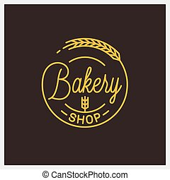 Bakery shop logo. Round linear logo of bakery
