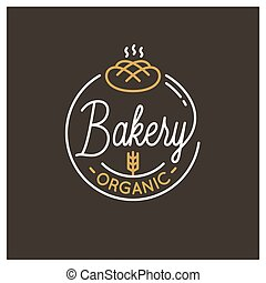 Bakery shop logo. Round linear logo of bread dark