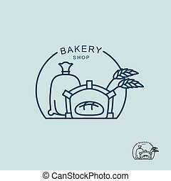 Bakery shop logo. Sack of flour and the stove. Fresh bread in oven. Ears of wheat. Logo for private bakery