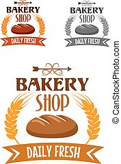 Bakery shop logo with fresh bread