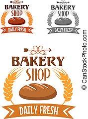 Bakery shop logo with fresh bread