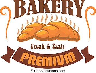 Bakery shop, pastry cafe vector label emblem