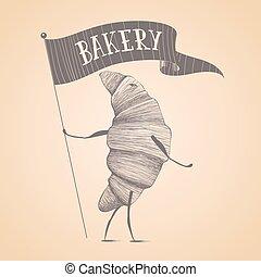 Bakery shop, pastry vector logo