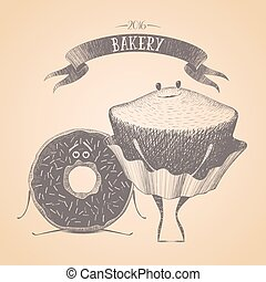 Bakery shop, pastry vector logo, sign, icon