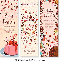 Bakery shop pies and pastry cakes vector banners -...