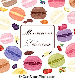 Bakery shop poster vector illustration. Sweet life with cookies and macaroons of different taste. Advertisement for bakery. Delicious desserts with strawberry. Pastry ad.