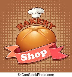 Bakery shop sign with bread and ribbon