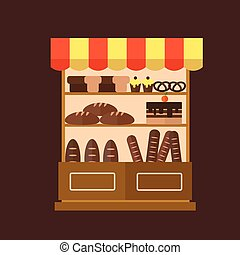 Bakery shop stall with bakery products.