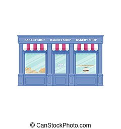 Bakery shop, storefront. Vector illustration. Vintage store front.