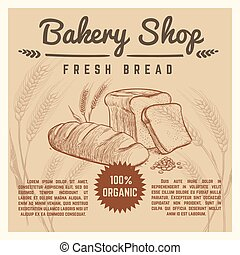 Bakery shop vector retro poster with hand drawn ears of wheat