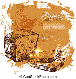 Bakery sketch background. Vintage hand drawn illustration