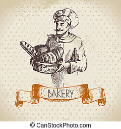 Bakery sketch background. Vintage hand drawn illustration of...