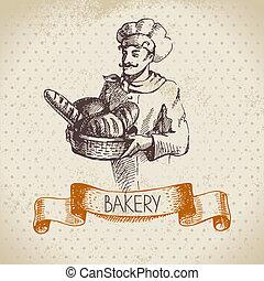 Bakery sketch background. Vintage hand drawn illustration of baker