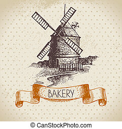 Bakery sketch background. Vintage hand drawn illustration of mill
